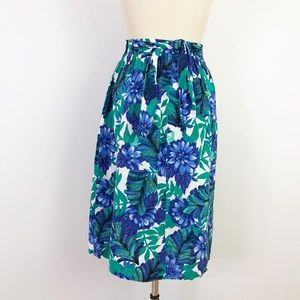 Vintage Skirts - 1980s Tropical Rayon Floral Skirt A-Line N1013